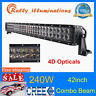 42'' 240W LED Light Bar Spot Flood Combo Driving Tractor SUV Offroad 4D Opticals