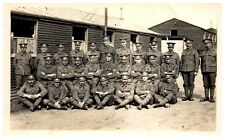 Postcard WW1 Gloucestershire Regiment Group Soldiers Officers Hut Camp RPPC 11a