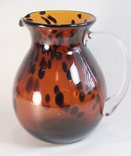 Art Glass - Bronze Colored Glass Pitcher with Random Brown Spots