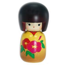 "Japanese Wooden Doll Kokeshi Girl Yellow Kimono Red Morning Glory Design 5"""