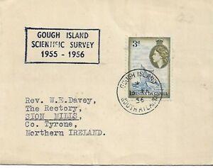 GOUGH ISLAND SCIENTIFIC SURVEY 1956 TYPED COVER QEII 3d TO IRELAND REF 1109