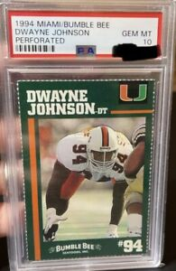 1994 MIAMI/ BUMBLE BEE DWAYNE JOHNSON PERFORATED PSA 10 🔥🔥 LOW POP