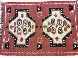 Rust Black Tribal Geometric Handmade Natural Fibres Wool Kilim Area Rugs Runner