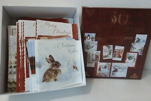 Box of 50 Traditional Family Selection Christmas Cards Mixed Sizes & Designs