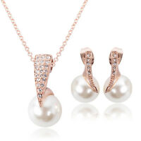 Women Wedding Jewelry Set Crystal Rose Gold Pearl Pendant Necklace Earrings Gift
