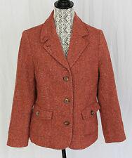 LL Bean Womens Pink Herringbone Tweed Wool Silk Blend Blazer Jacket Size MED