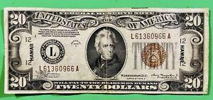 "1934-A US $20 Twenty Dollar ""Hawaii"" FRN Federal Reserve Note Paper Money"