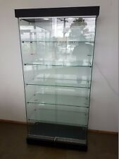Glass Display Cabinet with 2 Downlights on Castors - Flat Packed