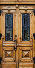 "Stunning Hand-Crafted Wood & 12 Gauge Wrought Iron Entry Doors 61"" X 96"""
