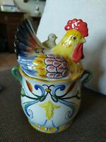 Vaso Porcellana Fitz And Floyd collezione Ricamo Con Gallina E Pulcino