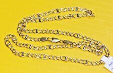 "LQQK Unique 14K Multi-Color GOLD FIGARO CHAIN NECKLACE 19"" long 8.9g yellow"