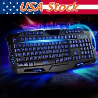 Pro Gaming Wired Keyboard Mouse Combo 3 Color LED Backlight Computer PC Light Up