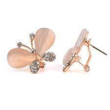 Elegant Butterflies Opal Simulation with Rhinestones Studs Crystal Earrings E543