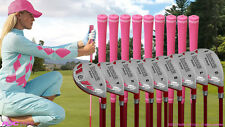 PINK LADIES ALL HYBRID RESCUE LADY HYBRIDS WOMENS FULL SET 3-PW + SW GOLF CLUBS