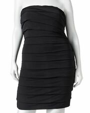 US 2X DRESS Black Cocktail Party Stretch Tiered Prom Strapless Tube Tunic $98NEW