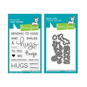 Lawn Fawn - Long Distance Hugs - Stamp (LF2510) and Die (LF2511) Set