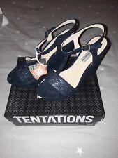 XTI Women's Navy Wedge Sandals Size 5