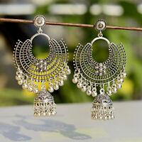 Fashion Jewelry Indian Oxidized Colored Bead Jhumka Silver Bohemia Gift Earrings