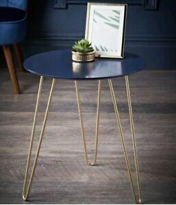 Malvern Side Table - Navy & Gold