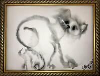 Margarita Bonke Malerei zeichnung POP art drawing black schwarz katze cat A3