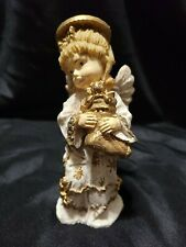 Kirkland's Angel of Holiday Peace Tablepiece Figurine Antiqued Gold Stocking