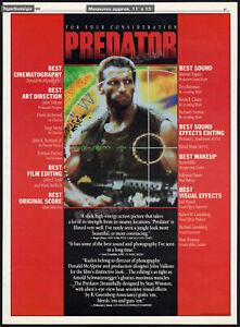 PREDATOR__Orig. 1988 Trade AD / FYC award promo / poster__Arnold Schwarzenegger
