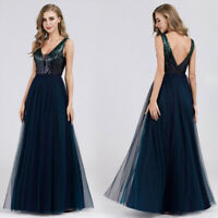 Ever-Pretty Long Navy Blue Sequins Evening Gowns Formal Bridesmaid Dresses 07910