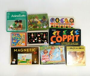 Vintage Board Games/Puzzles/Children's Toys, Retro Job Lot x 9 Old Games KL/BW