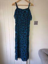 Next Womens Size 6 Leopard Print Blue Maxi Long Dress RRP£50 BNWT