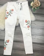 NWT Topshop 10 Moto Embroidered Floral Jeans Womens High Waist Ankle Grazer $110