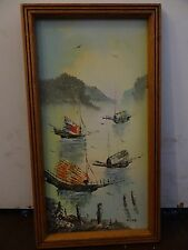 Original signed DALE Asian Japanese Chinese Art Ship Sail Boat Sea Oil Painting