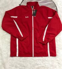 UNDER ARMOUR MENS  ESSENTIAL FULL ZIP UP JACKET RED MENS SIZE LARGE