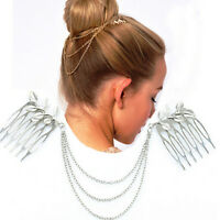 Vintage Hair Accessories Double Chain With Leaf Comb Head New Headband Fy