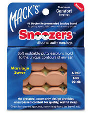 Mack's Snoozers Silicone Putty 22db  6 pairs Earplugs for Sleeping -- #2188