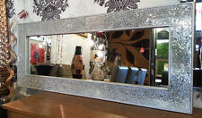 Crackle Mosaic Glass Silver Frame Wall Mirror Full Length 120x50cm New Handmade