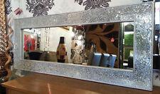 Crackle MOSAICO VETRO ARGENTO CORNICE PARETE SPECCHIO COMPLETO length120x50cm nuovo fatto a mano