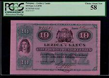 PARAGUAY  10 PESOS LEZICA Y LANUS 1870  PICK # S185 PCGS  58 CHOICE ABOUT NEW.