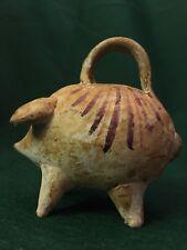 "c1850s Antique Handmade Clay Stoneware Piggy Still Bank Pottery Folk Art ~3"""