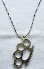 Halskette Schlagring gross mit Kugelkette silberfarben brass knuckles necklace