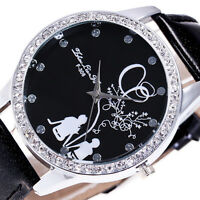 Fashion Women Lady Girl Stainless Steel Diamonds Leather Quartz Dial Wrist Watch
