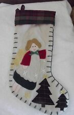 Christmas Stocking w/ Appliqued Angel and Tree