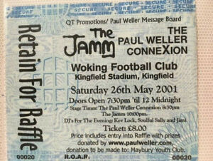 2001 PAUL WELLER CONNEXTION/THE JAMM @ WOKING FC - TICKET
