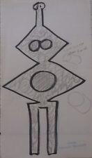 RAYMOND TRAMEAU (1897-1985)-COMPOSITION ABSTRAITE-PORTRAIT-ART BRUT-SIGNEE