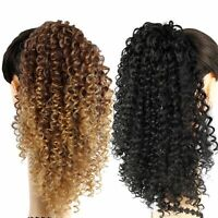Afro Kinky Curly Ponytail Ombre Synthetic Drawstring Short Hair Bun Extensions