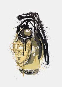 Dom Pérignon Gold Grenade Print - Home Decor Wall Prints A4 Size