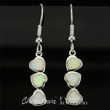 3 Heart Shape White Fire Opal Inlay Silver Jewellery Dangle Drop Earrings