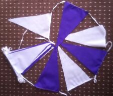 20 ft WHITE & PURPLE SATIN FABRIC BUNTING FLAGS WEDDINGS  over 6 mts