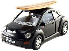 """Kinsmart 5"""" Volkswagen New Beetle w/ Surfboard 1:32 Diecast Model Toy VW Black"""