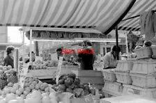 PHOTO  1971 MARKET IN STONE CROSS THE HIGH HARLOW FRUIT AND VEG STALL PRICES ON