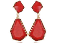 Ruby Red Gold Tone Drop Earrings For Pierced Ears With Accented Back Studs New